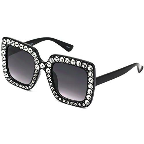 FLAWLESS Oversized Square Frame Bling Rhinestone Crystal Design Sunglasses For Women (Black)