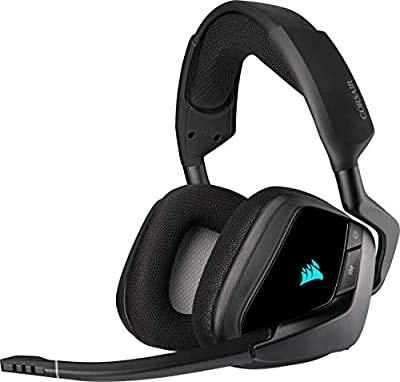 Corsair VOID ELITE RGB Wireless Gaming Headset (7.1 Surround Sound, Low Latency 2.4 GHz Wireless, 40ft Wireless Range, Customisable RGB Lighting, Durable Aluminium with PC, PS4 Compatibility) - Black