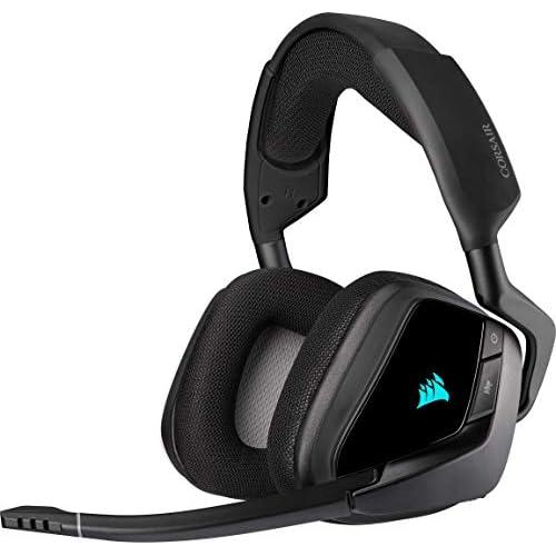 Corsair VOID ELITE Wireless Cuffie Gaming con Microfono, Audio 7.1 , Wireless 2.4 GHz a Bassa Latenza, 12 metri di Portata, Personalizzabili Illuminazione con PC, PS4 Compatibilità, Nero