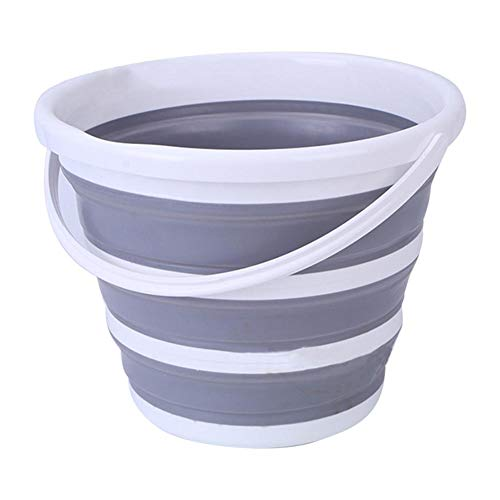 knowledgi Cubo plegable de 10 litros de silicona – Cubo plegable de 10 litros para la limpieza de la colada, camping, pesca – Cubo portátil agua