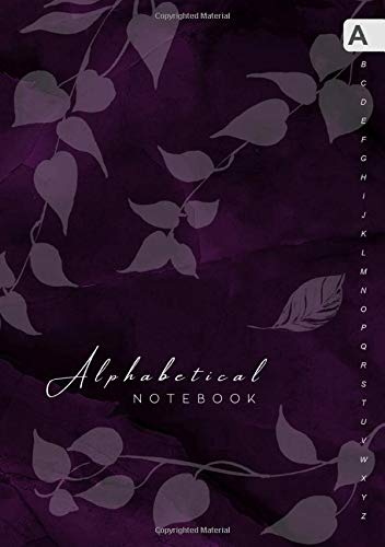 Alphabetical Notebook: B5 Lined-Journal Organizer Medium with A-Z Alphabet Tabs Printed | Cute Vine Leaves Design Marble Purple Black