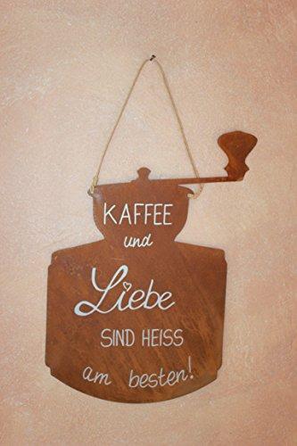 BADEKO 'Plaque Café incl. beschriftung, plaque en métal patine écriture 40 x 25 cm