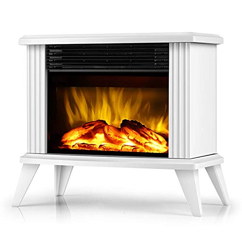 FTFTO Living Equipment Electric fireplace heating free-standing fireplace with realistic dancing flame effect - Easy to assemble - 1500 W black black with foot