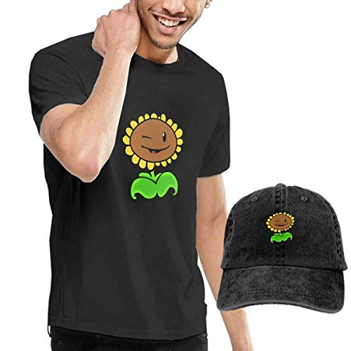 LYZBB Camisetas y Tops Hombre Polos y Camisas,Sunflower Face Smile Mens Round Neck Short Sleeve T Shirt and Cowboy Hat Black