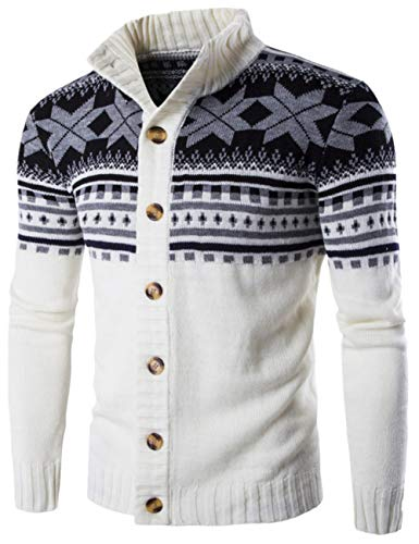 SUNFURA Men's Casual Slim Fit Button Closure Ugly Christmas Cardigan Sweater(White,XL)