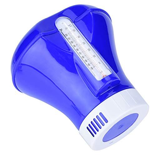 8 Pulgadas Piscina Flotante de Cloro Dispensador con termómetro Incorporado para agrupaciones de Todos comunes y SPA Floating Box Temperatura