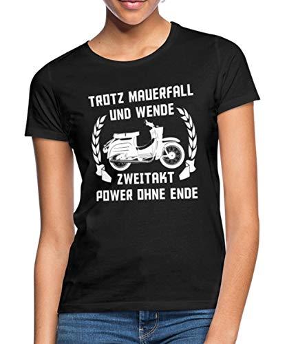 Ostalgie Trotz Mauerfall Und Wende DDR Moped Frauen T-Shirt, L, Schwarz