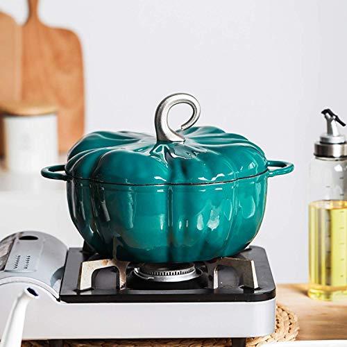 LGR Olla Creativa de Hierro Fundido esmaltado con Forma de Calabaza, Olla para estofado de Cocina de inducción de 24 cm con Tapa, 3.7L