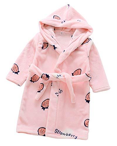 Toalla para Niños con Capucha Super Suave Cómoda Terry Albornoz Bata Pijama Ropa Housecoat Pink CM 110