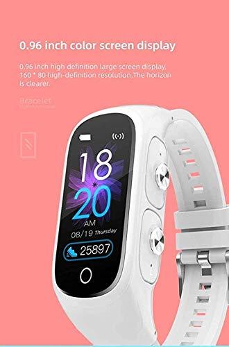 DHTOMC Señoras pulsera inteligente 2 en 1 inalámbrico bluetooth auricular fitness tracker reloj actividad rastreador reloj deportivo reloj podómetro rojo