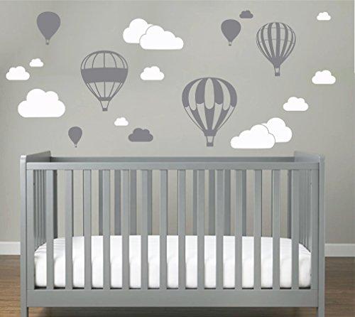 Heißluftballon mit WOLKEN SET 20 teilig Wandtattoo Wandaufkleber Sticker Aufkleber Wand Himmel Baby (Grau)