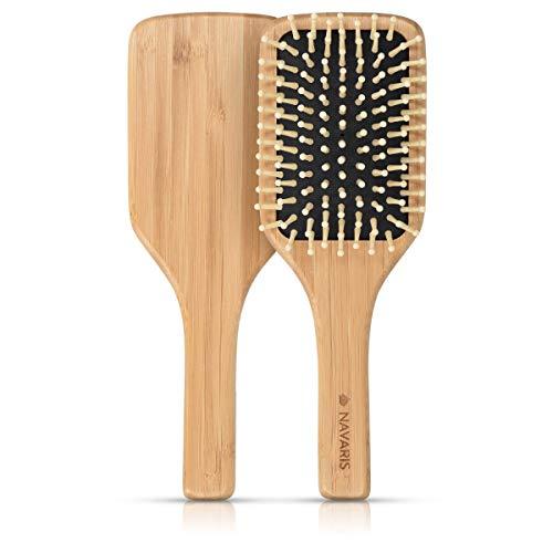 Navaris Spazzola Piatta in Legno di Bambù - per Tutti Tipi di capelli con Dentini Massaggianti Ecofriendly Paddle Brush per Pettinare Districare Nodi