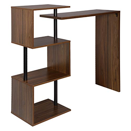 WOLTU Swivel Kitchen Bar Counter Table Bistro Table Breakfast Dining Table Dark Beech Coffee Table with 2-Tier Storage Rack Shelves for Beverage Display Shelving Strong Metal Frame BT27dc