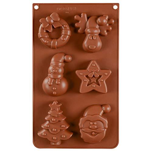 Stampo per torta Babbo Natale pupazzo di neve, stampo per torta in silicone a 6 cavità Babbo Natale pupazzo di neve Strumenti di cottura fai da te Stampo per torta 3D per gelatina Decorazione