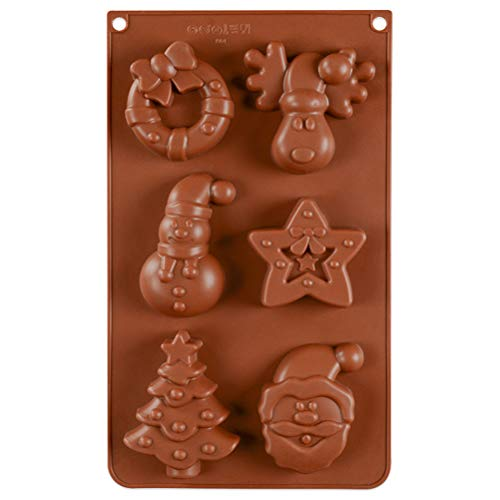 Yumira Silicone mould, Christmas cake mould, fondant chocolate mould, cake decoration mould, Santa Claus, reindeer, snowman, Christmas tree, star baking mould for jelly pudding, ice cubes, muffins