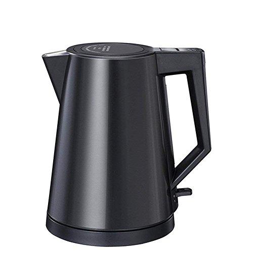 L & WB Elektrische ketel voor warmwater, roestvrij staal, met veer, deksel, stil 1,2 l, zwart, 15,4 x 19,5 x 21 cm