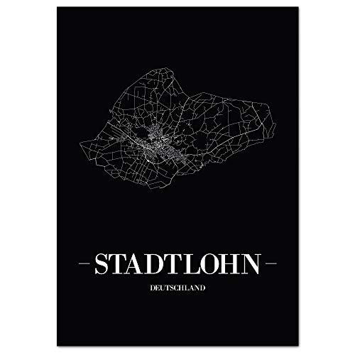 JUNIWORDS Stadtposter - Wähle Deine Stadt - Stadtlohn - 60 x 90 cm Poster - Schrift A - Schwarz