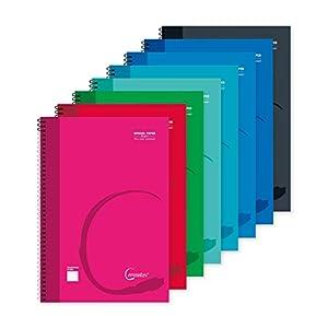 MP - Cuadernos Cuadriculados, Tapa Plástica, Unido en Espiral, 80 Hojas, Paquete de 8 Libretas 215x155 mm