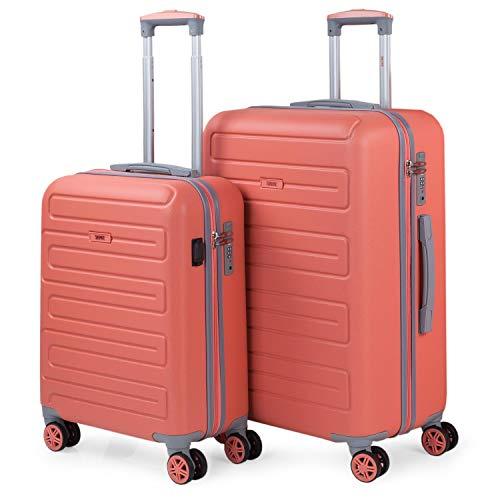 SKPAT - Juego de Maletas de Viaje Ligeras 2 Pzs. Set Trolley ABS 4 Ruedas (Cabina + Mediana) Rígidas y Resistentes. Conjunto Equipaje Avión 175015, Color Coral