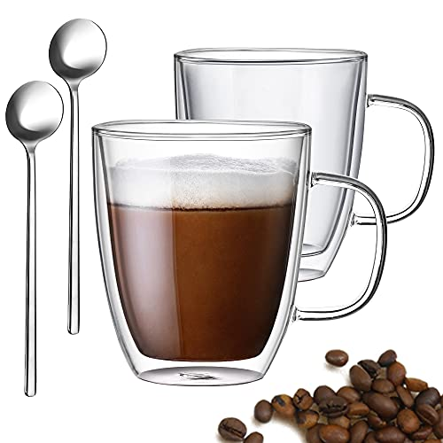Gezzeny Glass Coffee Mugs, 12.5 Oz Set of 2 Insulated Double Wall Glass Coffee Mugs with Handle & Spoons, Crystal Clear Glass Coffee Cups Espresso cups for Cappuccino, Tea, Latte, Beverage Hot/Cold