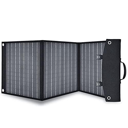 Panel solar de 60 W, plegable, portátil, con potencia solar al aire libre, USB, dc, pd, senderismo, viajes, impermeable, cargador de teléfono de rescate, batería solar, color negro