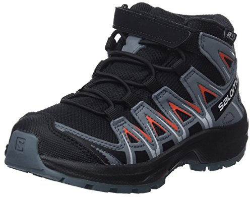 Salomon Kinder Wanderschuhe, XA PRO 3D MID CSWP K, Farbe: schwarz/orange (Black/Stormy Weather/Cherry Tomato), Größe: EU 28