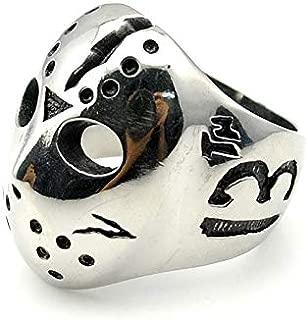 8Ninegift Hockey Jason Mask Skull Rings Novel Mens 316L Stainless Steel Jewelry, Rock, Biker (8)