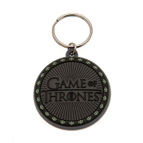 Game of Thrones Gummi Schlüsselanhänger (Einheitsgröße) (Schwarz/Logo)