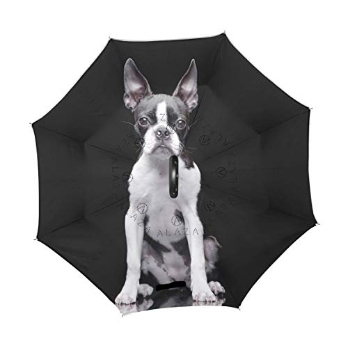 Great Deal! TropicalLife Double Layer Inverted Umbrella Boston Terrier Dog Reverse Umbrella