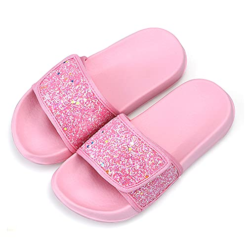 Girls Summer Sequin Slippers Kids Slide Sandals Toddler Girls Non-Slip Bathroom Slippers Beach Pool Shoes(1UK/Lable size 33,Pink)