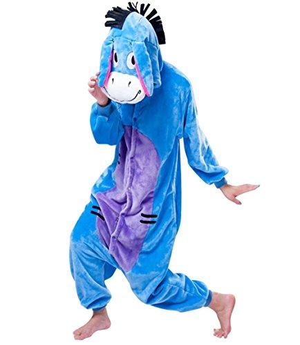 Mauea Unisexo Hombre Mujer Pijamas Halloween Traje Invierno Disfraz Animal Pyjamas Cosplay Burro M