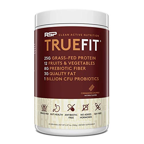 RSP TrueFit - Protein Powder Meal Replacement Shake for Weight Loss, Grass Fed Whey, Organic Real Food, Probiotics, MCT Oil, Non-GMO, Gluten Free, No Artificial Sweeteners, 2 LB Churro