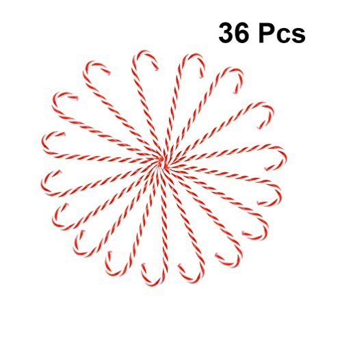 NUOBESTY 36 Piezas de bastón de Caramelo de plástico para Colgar en el árbol de Navidad (15 cm, Rojo y Blanco)