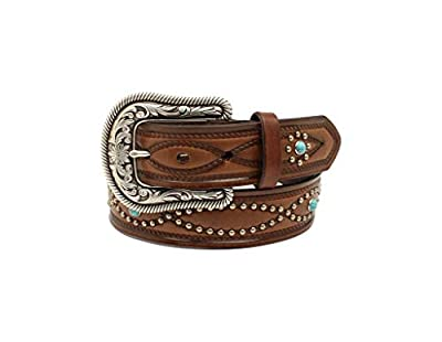 "Ariat Women's Figure 8 Nailheads w/Turquoise Stones Belt Brown XL (42"" Waist)"