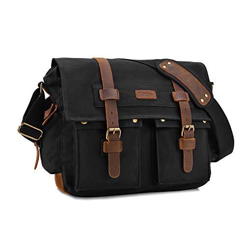 Kattee Retro Unisex Canvas Leather Messenger Shoulder Bag Fits 14.7' Laptop