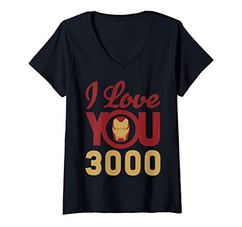 Donna Marvel Avengers Endgame Iron Man I Love You 3000 Helmet Logo Maglietta con Collo a V