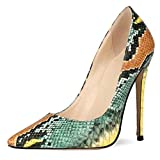 Gracemee Mujer Moda Pumps Stiletto High Heels Noche Fiesta Zapato Slip on Puntiagudo Dress Zapato Animal Print Snake Green-12CM Size 34
