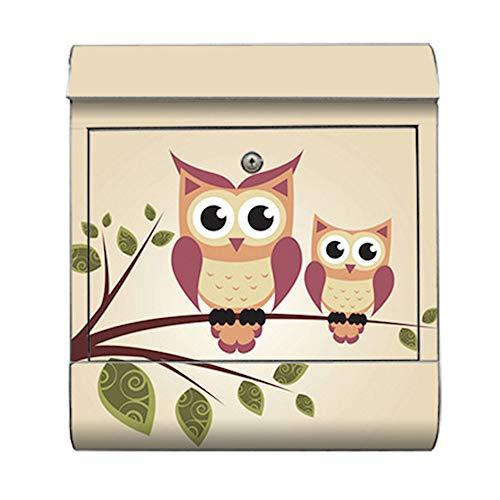 motivX-Ideenwerkstatt Briefkasten Kombi Wandbriefkasten mit Motiv Eulen Illustration