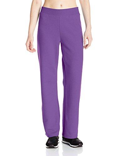 Hanes womens ComfortSoft EcoSmart Women's Petite Open Bottom Leg Sweatpants Violet Splendor Heather Small