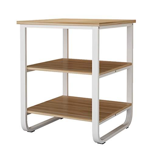 Regale Drucker Schmiedeeisen Multi-Layer-Lagerregal Büro Dreistufige Lagerregal Kopierer Tisch Lagerregal Holz Bücherregal (Color : Weiß, Size : 80x60x75cm)
