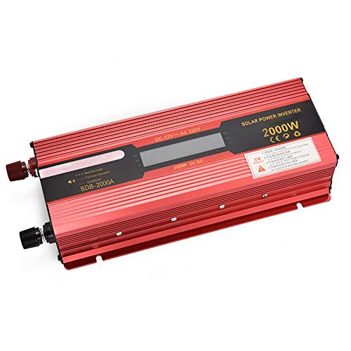 Inversor de Onda Sinusoidal Pura de 2000 W / 4000W / 6000W DC 12V/24V a AC 220V Convertidor de Energía con Pantalla Digital Dual y Puertos USB, para Exteriores / Hogar / Automóvil,12v to 220v,2000W