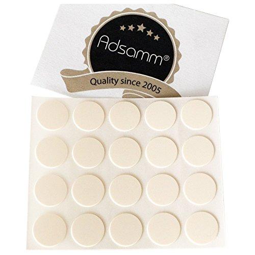 Adsamm® | 20 x Abdeckkappen | Ø 13 mm | Creme | rund | 0,45 mm dünne selbstklebende Möbelpflaster von Adsamm®