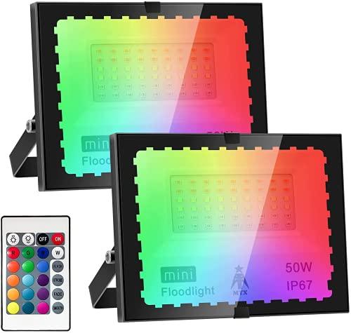 Faretto LED da Esterno RGB 50W Proiettore da Esterno con telecomando,Faro LED Esterno Luce Bianca,Impermeabile IP67 per Giardino Cortile Garage[Classe di efficienza energetica A++](2 Pezzi)