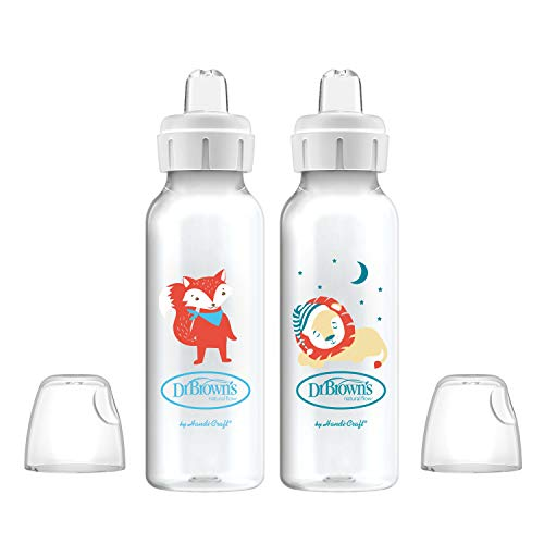 Dr. Brown's Options+ Sippy Spout Baby Bottles, Fox & Lion, 8...