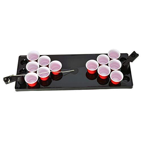 Unbekannt Mini Beer Pong Trinkspiel mit Spielfeld und 12 Bechern - Mini Beerpong Partyspiel Saufspiel Mini Bier Pong