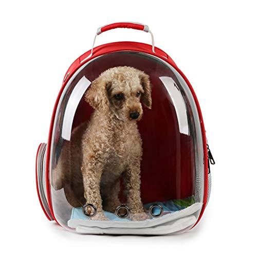 POPETPOP Tragbare Haustier Katze Hund welpen Rucksack träger Outdoor Tragetasche Blase 360 ??Grad transparent Raum kapsel Rucksack (Rot)