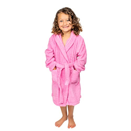 BAGNO MILANO Kids - Unisex Hooded Organic Bathrobe – GOTS Organic Turkish Cotton - Boys - Girls Robe, Made in Turkey (X-Large/Age 13-15, Pink)