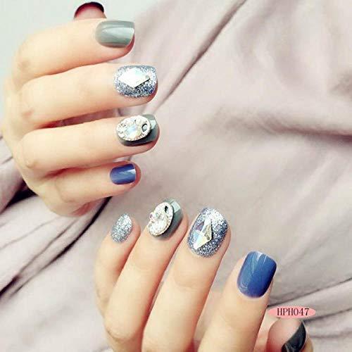 24 pcs/boîte avec 2g fille Manucure Nail-fini faux ongles presse sur Glitter Cristal Paillette Décoration Détachable Faux Ongles