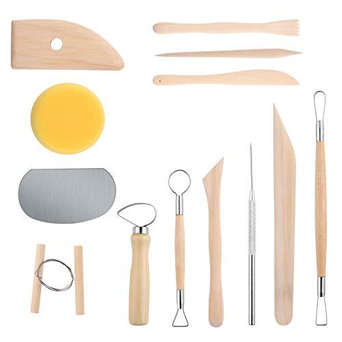 13 herramientas de cerámica herramientas de arcilla seca al aire libre herramientas para alfareros rueda para adultos arcilla polimérica herramientas de esculpir alfarería kit