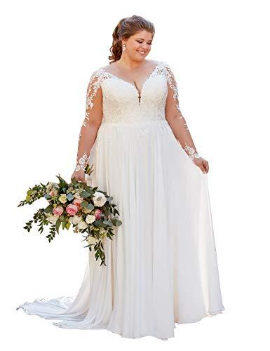 Nanger Damen Chiffon Spitze Große Größe Hochzeitskleider mit Lange Ärmel Brautkleider Weiß 52